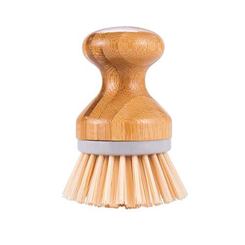 DaMohony Cepillo redondo de bambú para limpieza de platos, fregadero, fregadero, fregadero, cocina, fregadero, limpieza del hogar