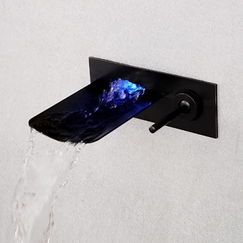 LED RGB 3 Cambio De Color Cascada Lavabo Mezclador Monomando Montaje En Pared Baño Grifo del Lavabo Grifería De Baño De Latón,Schwarz