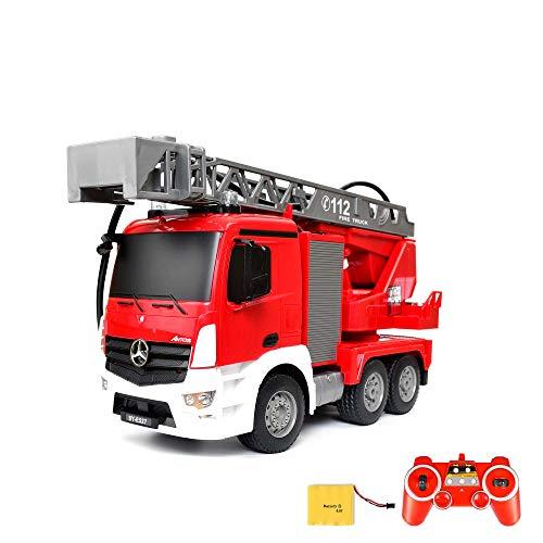 Mercedes-Benz Antos - original RC ferngesteuerter Feuerwehrwagen mit der neuesten 2.4GHz-Technik, wiederaufladbarer Akku, steuerbarer Rettungsleiter, Sound- und LED-Effekte, Komplett-Set inkl. Akku und Ladegerät