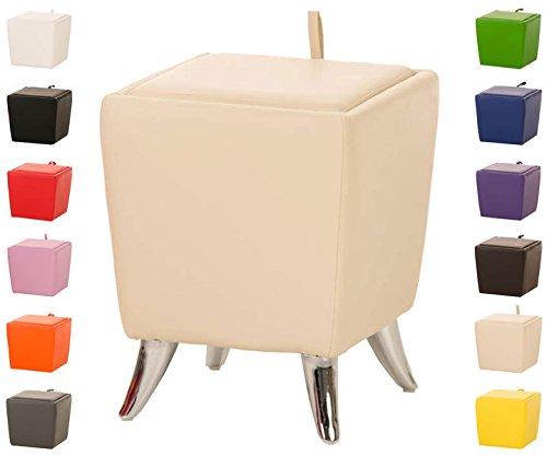 Taburete Puff De Almacenamiento Roxy I Taburete Reposapiés Tapizado En Simil Cuero I Otomana De Almacenaje Moderna I Color:, Color:Crema