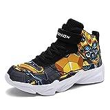 Senco-Girls Toddler Little Kid Cartoon Sport Shoes Big Boys High Top Sneakers for Running Basketball Tennis Hiking Yellow