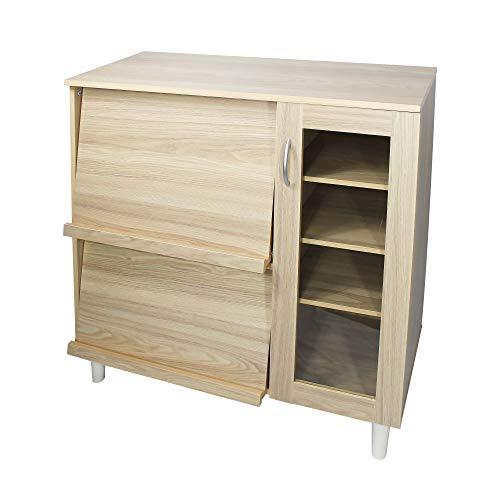 Iris Ohyama Kitchen Cabinet KBN-9390 Credenza Archiviazione Multipla con Piano Scorrevole e Anta in Vetro in Legno MDF, Engineered Wood, Marrone (Rovere Chiaro)
