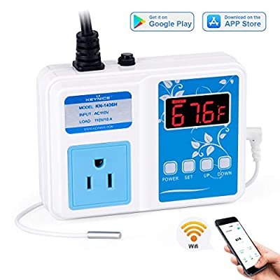 KEYNICE Wi-Fi Temperature Controller, Wireless Digital Outlet Thermostat, Heating and Cooling Mode, 110V Temp Controller with Waterproof Probe for Brewing Fermentation, Seed Germination, Aquarium??