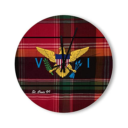 onepicebest - Reloj de pared de madera, diseño de bandera de las Islas Vírgenes Rústicas, color rojo, verde y rojo, 30 cm