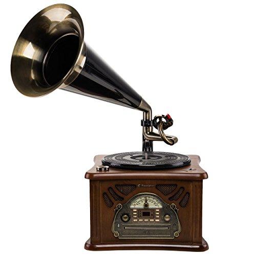 Roadstar HIF-1850TUMP retro-muziekinstallatie met platenspeler in gramfon-stijl (CD/MP3-speler, cassette, USB, AUX-in, encoding-functie, 35 watt muziekvermogen, houten behuizing, bruin