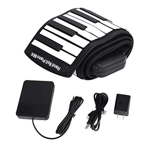 楽器 ロールピアノ 持ち運びロールピアノ 多機能 折りたたみ可能 充電式 大容量バッテリー USB MIDI出力 LEDデジタルディスプレイ付き ロールピアノ 88鍵盤
