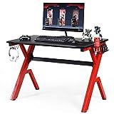 Tangkula Gaming Desk, Ergonomic Gamer Workstation, Computer Desk with Cup & Headphone Holder Mouse Pad, Carbon Fiber Surface and R-Shape Steel Frame, Game Desk Gaming Workstation (Black & Red)
