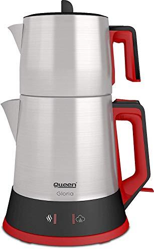 Queen Gloria QC-037-I INOX Elektrische Teemaschine Edelstahl, Teekanne, 1800 Watt, Versteckter Widerstand
