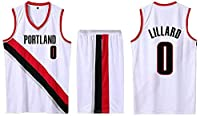 FJH ユーススポーツバスケットボールジャージーポートランドトレイルブレザー#0ジャージーショーツ、メッシュ刺繍入り文字バスケットボールジャージ (Color : White, Size : XL)