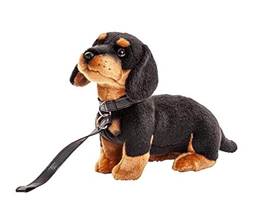Uni-Toys - Dackel mit Leine - 27 cm (Länge) - Plüsch-Hund - Plüschtier, Kuscheltier, Schwarz, Braun, HT-30153