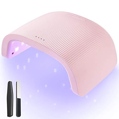 O'Vinna Lampara LED Uñas UV Manicura y Pedicura Profesional 48W con Sensor Automático, 3 Temporizadores de 30s/60s/90s, Secador para Todos los Esmaltes de Uñas, Rosa