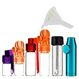 6 Pack Bundle   Premium Snuff Spice Storage (Glass, Acrylic and Metal) with ConClarity Micro Funnel...