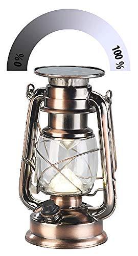 Lunartec Solarleuchte: Ultra helle Solar-LED-Sturmlampe, 200 Lm, 3 W, warmweiß, Bronze (LED Öllampe)