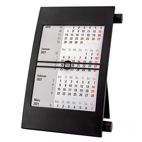Truento 3-Monats-Tischkalender für 2 Jahre (2021 & 2022) - mit Drehmechanik - schwarz/schwarz