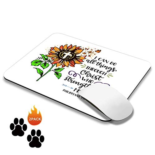 Square Gaming Mouse Pad Mat Sunflower Butterfly Mousepads with Cute Stickers Non-Slip Rubber Base Mouse Pads for Laptop Compute Working Home Office Accessories