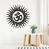 ZGHNZK Pegatinas de pared hindúes hindúes India símbolo sánscrito calcomanía de pared hogar dormitorio decoración vinilo removible yoga mural 57 * 57cm