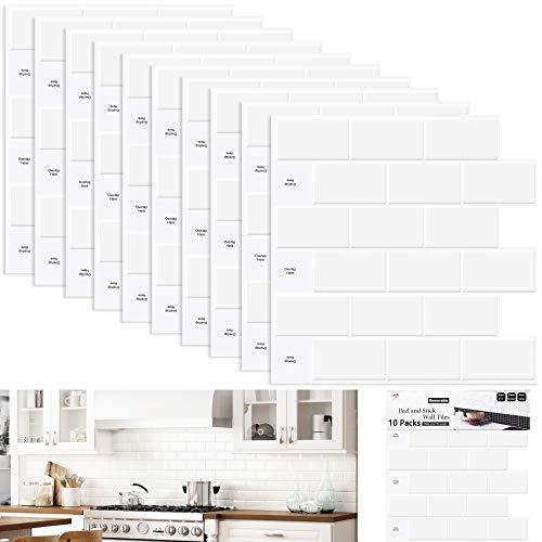 Fliesenaufkleber ,Küchenrückwand Selbstklebend,Hart PVC Wasserdicht Klebefliesen(10-Blatt 30x 30CM reinweiß Fliesenfolie)
