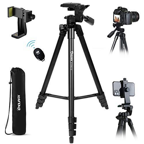 Endurax Kamera Stativ 153cm Erweiterbarer Handy Stativ aus Aluminium Tragfähigkeit 3KG Dreibeinstativ mit 3 Wege-Schwenkkopf mit Handyhalterung,Bluetooth Fernbedienung und Tragetasche