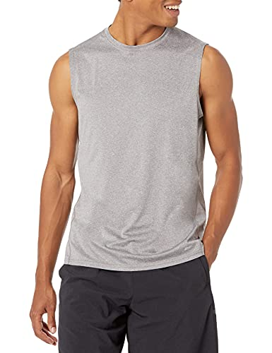 Amazon Essentials Men's Tech Stretch Performance Muscle Shirt, Light Grey Heather, X-Large