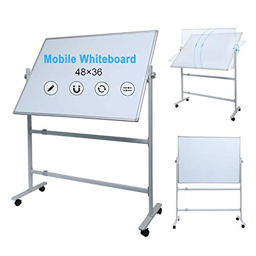 Whiteboard with Stand 48' x 36' Large Mobile Whiteboard Rolling Magnetic Dry Erase Board Office Classroom White Board on Wheels