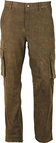Cargo Jagd Lederhose Herren lang- Lange Lederhose Damen - Cargo Lederhose- Echt Leder Nubuk - Lederhose Jeans 501 Antik Braun | Olive- Motorrad Lederjeans (48 EU-Herrengrößen, Olive)