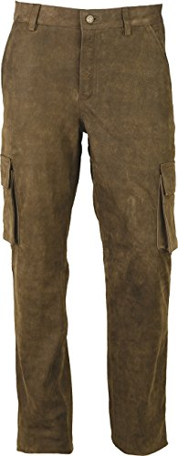 Cargo Jagd Lederhose Herren lang- Lange Lederhose Damen - Cargo Lederhose- Echt Leder Nubuk - Lederhose Jeans 501 Antik Braun | Olive- Motorrad Lederjeans (54, Antik Braun)