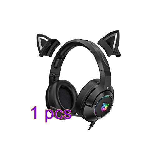 Stereo Gaming Headset with Mic,RGB Luminous Mobile Phone Computer Noise Reduction Headset,Detachable Cat Ear Gaming Headset, for PS4, PS5, Xbox One, PC, Phone