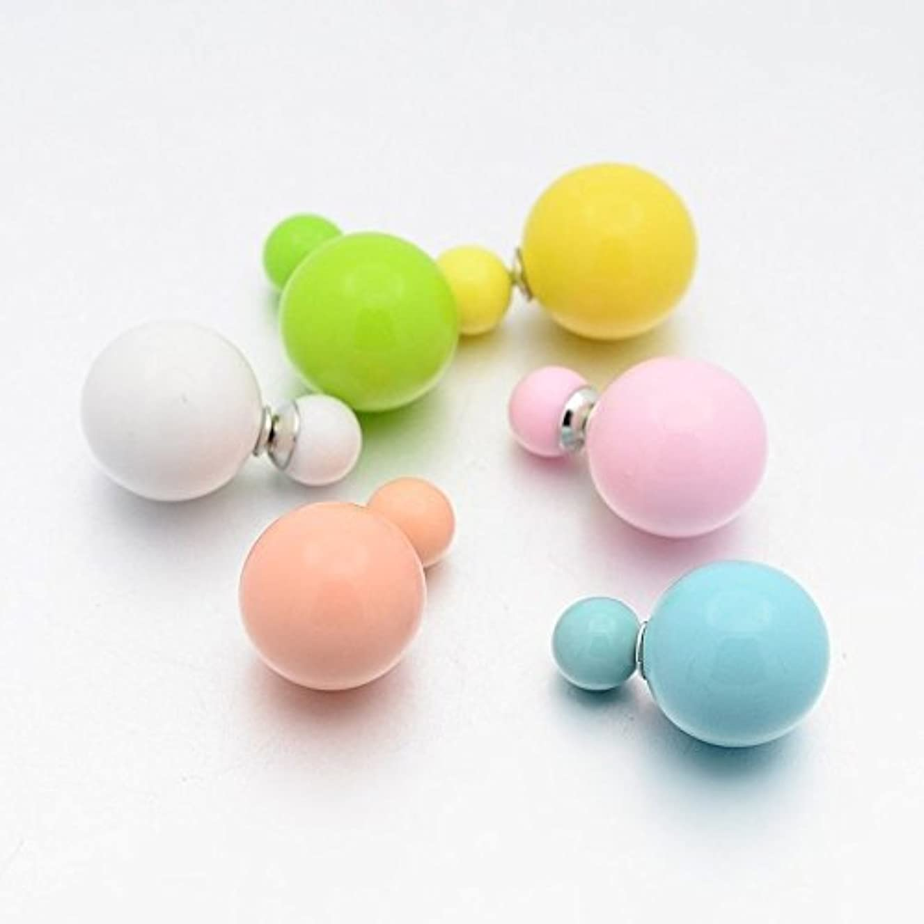 10pairs Opaque Acrylic Double Sided Ball Bubblegum Ear Stud Earrings Mixed Color