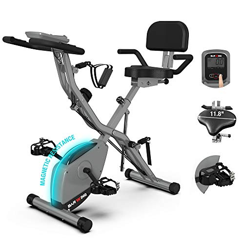 BARWING Foldable Exercise Stationary Bike, 3-IN-1 Magnetic Upright Workout Bike with Arm Exercise Resistance Bands and Ankle Strap for Home Gym