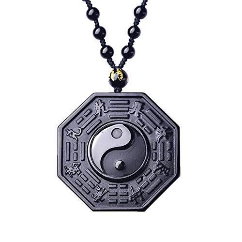Purmy Obsidian Yin Yang Anhänger,Ying Yang Taichi Halskette Amulett Kette Frauen Männer Schmuck