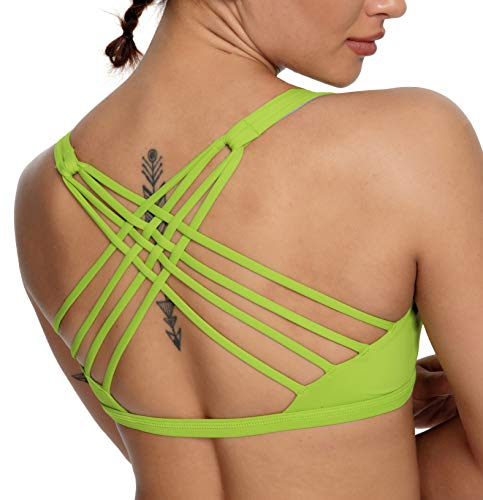 QUEENIEKE Damen Yoga BH Criss Cross Strappy Back Light Support Free To Be BH mit abnehmbaren Cups 1 Gr. XL, Naturgrün