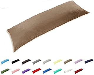 TAOSON 100% Cotton 300 Thread Count Body Pillow Cover Pillowcase Pillow Protector Cushion Cover with Zippers Only Cover No Insert (Khaki,21