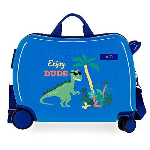 Enso Dino Maleta Infantil Azul 50x39x20 cms Rígida ABS Cierre combinación 34L 2,1Kgs 4 Ruedas Equipaje de Mano