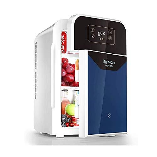 LJJOO 22 litros de coches Mini refrigerador pequeño hogar del coche de Doble Uso de refrigeración térmica Frigorífico individual y ajuste de control de la puerta doble de temperatura inteligente Frigo