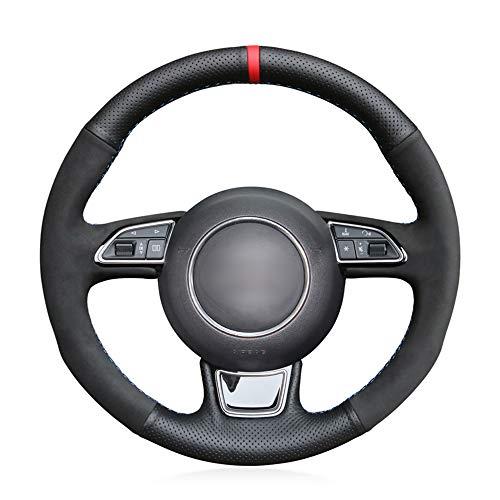 Preisvergleich Produktbild SLONGK Für Audi A1 8X A3 8V Sportback A4 B8 Avant A5 8T A6 C7 A7 G8 A8 D4 Q3 8U Q5 8R,  Lenkradabdeckung aus schwarzem Echtleder