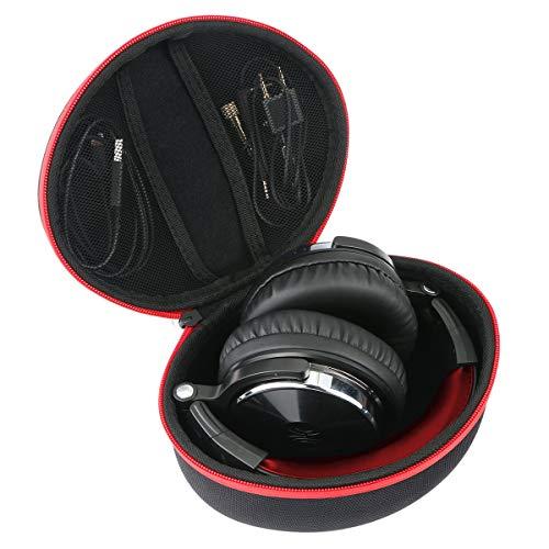 Khanka Hart Tasche für OneOdio DJ Kopfhörer Studiokopfhörer Over-Ear Headset mit Kabeln Etui Case Schutzhülle.(Rot Reißverschluss)