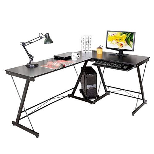 Py Bureau Informatique Table d'Angle Ordinateur Noir 161 * 120 * 73cm-035