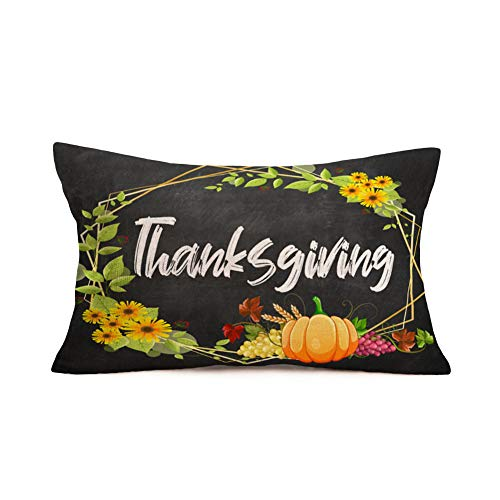 Smilyard - Funda de almohada decorativa para casa de campo con cita de calabaza y cita cálida, diseño de flores de girasol, otoño, cosecha lumbar rectangular para sofá de casa de 12 x 20 pulgadas