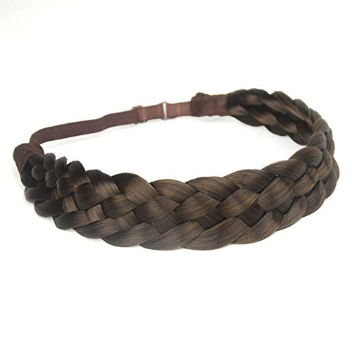 DIGUAN 5 Strands Synthetic Hair Braided Headband Classic Chunky Wide Plaited Braids Elastic Stretch Hairpiece Women Girl Beauty accessory, 56g (#Copper Brown)