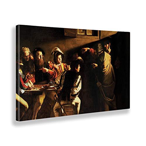Giallobus - Quadro - Caravaggio - Vocazione di San Matteo - Tela Canvas - 140x80 - Pronto da Appendere - Quadri Moderni per la casa