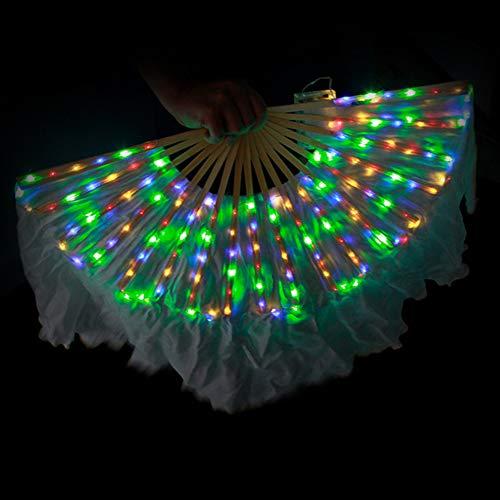KT Mall Bauchtanz LED Fan Schleier, Bambus Fans Schleier Handgemachte Seide Fan 126 Lampe Perlen Für Tanz Ausrüstung Prop Stage Aktivitäten Tools Karneval Halloween,Colorful