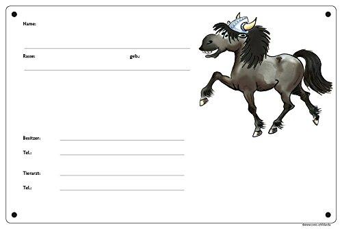 Boxenschild/Stalltafel Wikinger-Pony (Isländer/Islandpferd/Isi) Rappe