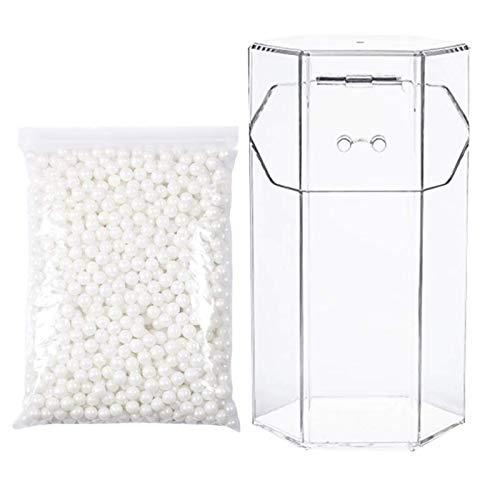 Multifunctional CABILOCK 1 Set Acrílico Cepillos Cosméticos Caja de almacenamiento Transparente Contenedor de maquillaje Organizador (soporte de cepillo hexagonal + 1000pcs Perlas blancas)