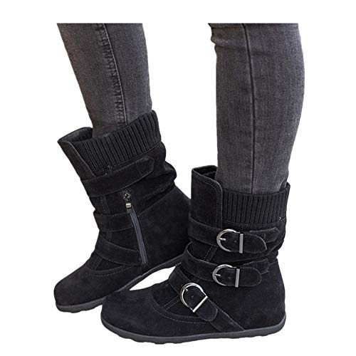 Women's Winter Snow Boots Zipper Buckles Strap Warm Ankle Mid Flat Boot (Black, 8)