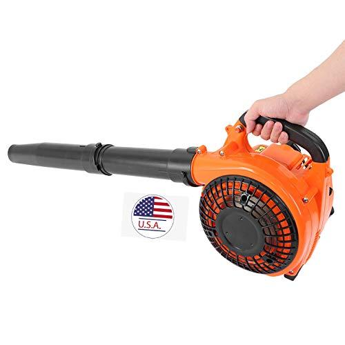 IUHI 2-Stroke Hand Held Leaf Blower, 26C-C Gas Engine, 375 CFM 195 mph (Orange)