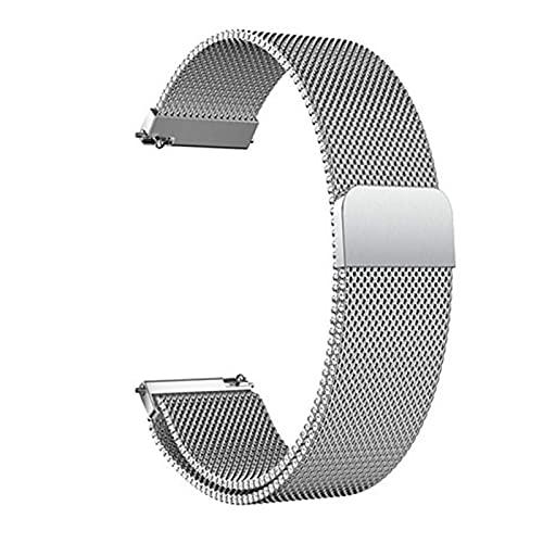 REDCVBN 14 mm 16 mm 18 mm 20 mm 22 mm 24 mm Correa de Pulsera de Reloj de Malla de Bucle de Acero Inoxidable de Metal con pasadores de liberación rápida Pulsera (Color: Plata, Tamaño: 16 mm)
