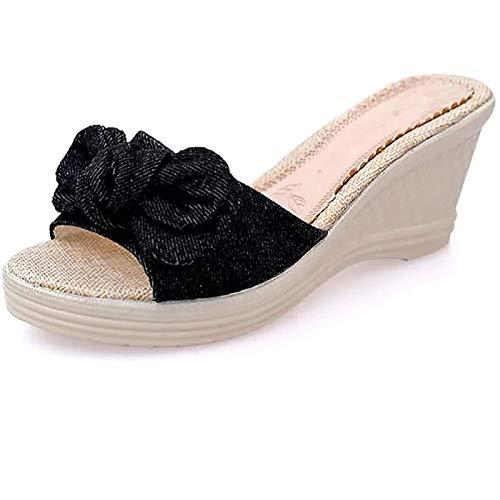 RWX Zapatillas De Mujer, Zapatillas CóModas, Sandalias, CuñAs Bajas, Sandalias De Punta Abierta, CuñAs De Verano Antideslizantes, Zapatos De Playa, Sandalias De Playa Black-38