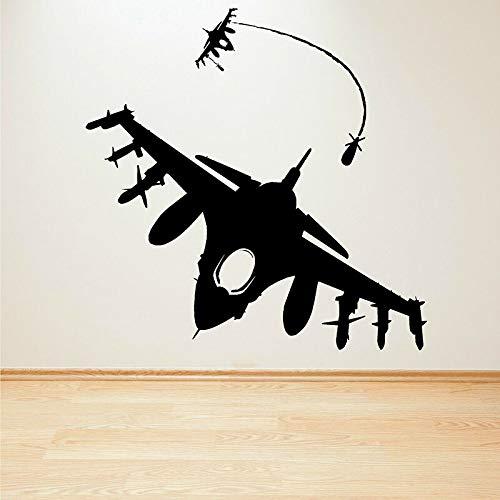 NSRJDSYT Avión de Combate, calcomanía de Pared de misiles, Bombardero, Combate aéreo, avión de Combate, Vinilo, Pegatina de Pared para niños, Dormitorio, Sala de Juegos, decoració 57x57cm