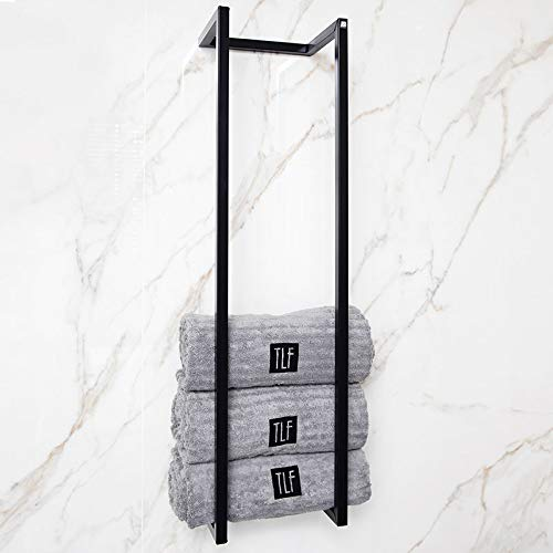 Handtuch-Halter | Badetuch-Halter für mehrere Handtücher zur Wandmontage - Industrial-Design und handgefertigt - Handtuch-Stangen Rack aus pulverbeschichtetem Stahl - 95x25x20 cm - Matt-Schwarz