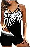 LiuliuBull Trajes de baño de Verano para Mujeres con Dos Trajes de baño de Dos Piezas con Volantes Top con la Parte Superior del Bikini de la Parte Inferior del Bikini de Las Mujeres.